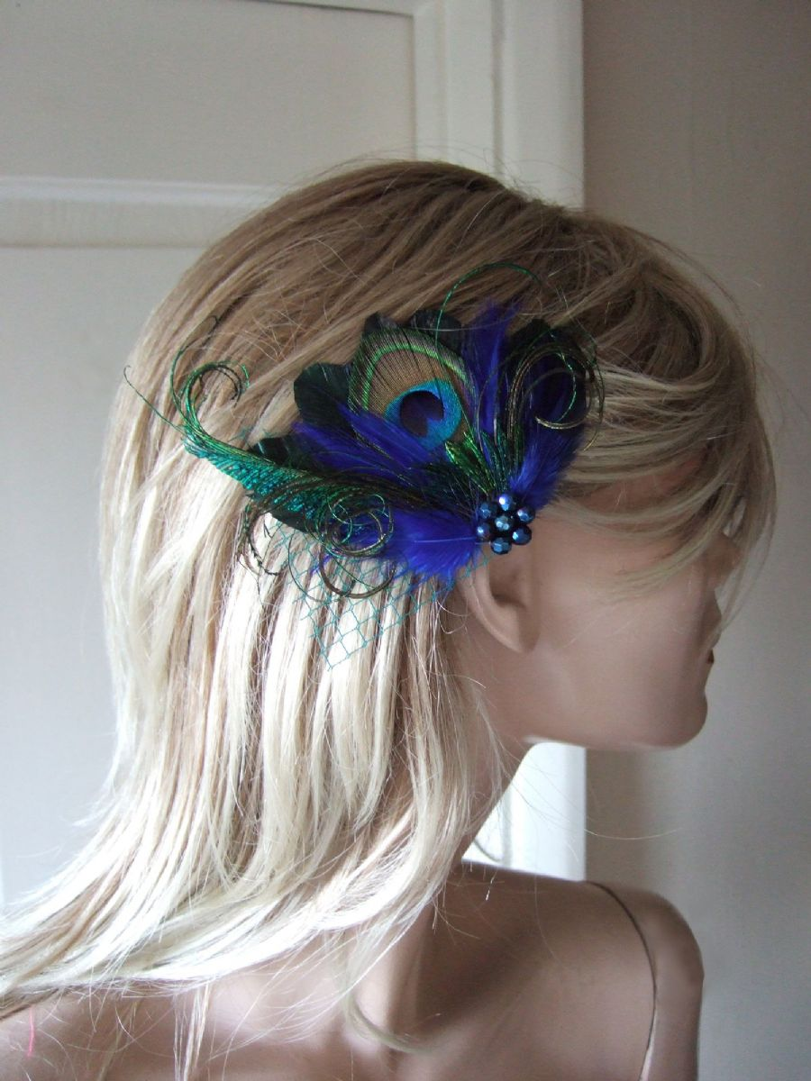 "Royal Navy Blue  Green Lilac Peacock Feathers Fascinator Hair Clip ""Avril"" Gatsby Christmas New Years Eve Party or Proms"